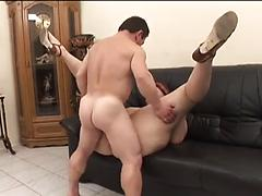 Bigger Brunette Sucks Cock And Gets Rammed From Behind