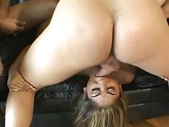 A Horny Girl Giving Blowjob To Two Cocks And Getting Drill