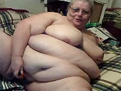 Horny Old Fat Woman Fingers Herself On Cam