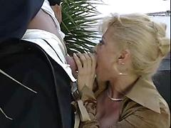 Blonde Gets On Her Knees And Shows Her Oral Skills