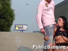 Sexy Brunette Gets Tag Team Public Fucking