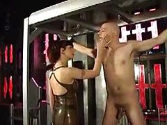 Gorgeous Busty Dominatrix Works A Cock Over In Dungeon