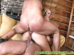 Blonde Slut Gets A Double Cream Pie On The Couch