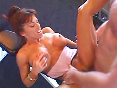 Big Tit Muscle Babe Takes Long Cock In The Gym
