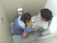 Slutty Asian Girl Fucks In Bathroom Stall