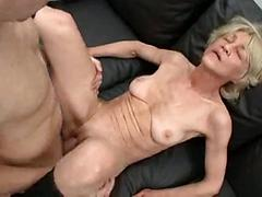 Grandma Sucks And Fucks Two Dicks On A Couch