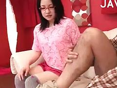 Cute Chick With Glasses Gives A Blow Job