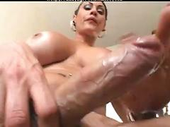 Sexy shemale cums hard on her big tits