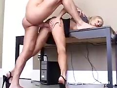 High-heeled blonde gets her pussy pounded