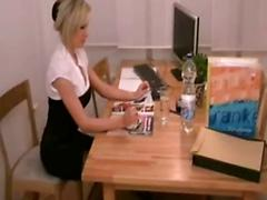 Amateur smoking hot secretary fucked and facialed at work