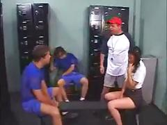 Tight teen banged by the football players