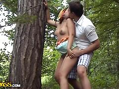 Amateur couple's park relaxation
