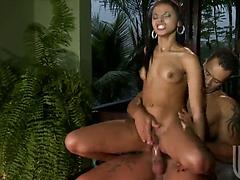 Sweet Brazilian girl with a hot body jumps on a cock nicely