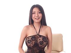 Asian stunner with big natural boobs places cock between tits and in pussy