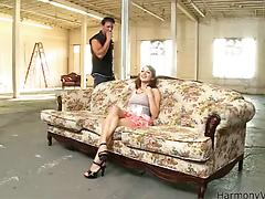 Steaming babe with perky tits Lexi Bloom enjoys a cool rim job