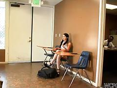 Pigtailed coed in white stockings Lola Foxx fucks with a teacher