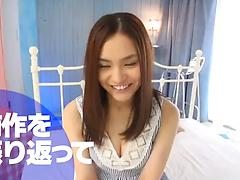 Inexperienced Asian stunner is excited to get a load of jizz