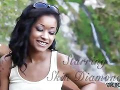 Playsome ebony sweetie Skin Diamond enjoys outdoor cock riding