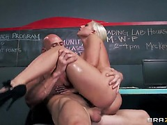Blonde secretary fucked by her cray boss in her anal hole
