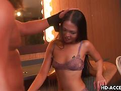 Slender Asian hottie gets her face roughly fucked