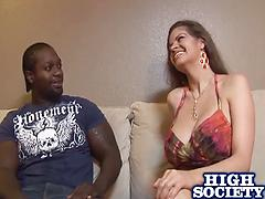 Busty milf gets her mouth and pussy rammed with a big black cock