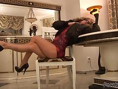 Stunning blonde siren gets fisted and smashed so deep