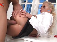 Slutty office girl Jennifer Love  gets her anal treated hard