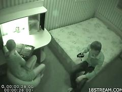 Banging teen couple get caught on a secutiry camera