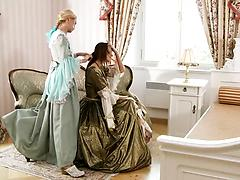 Glamour lesbian babes in vintage dresses play hot lesbian games