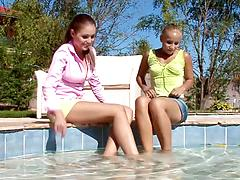 Hot lesbi girls licking tits and pussies by a swimming pool
