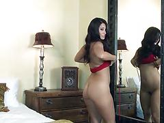 Long-haired chick teases her pussy with fingers and a toy