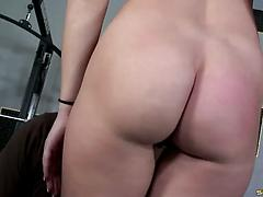 Chick sucks cock of her coach in the gym and gets nailed