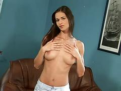 Slender girl with big tits is perfect at fingering and toying