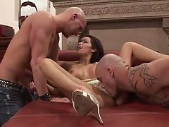 Mouthwatering girls with fake tits go wild in hardocre threesome actions