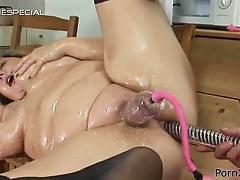 Massive mature slut with huge tits gets oiled up and anally satisfied