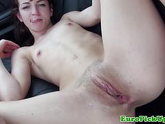 Petite Euro Amateurs Facial In The Car