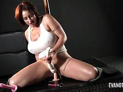 Stripper Gets Horny On The Pole And She Grabs A Dildo To Ride