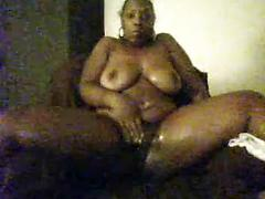 Black BBW plays with pussy on cam