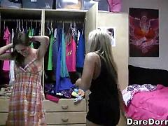 Two Angelic College Girls Make Out On Bed