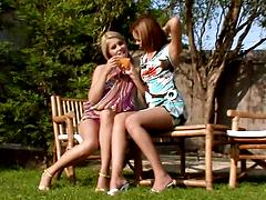Bubble assed lesbian sluts take off panties and finger assholes